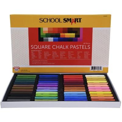 School Smart Square Chalk Pastels, Assorted Colors, set of 48