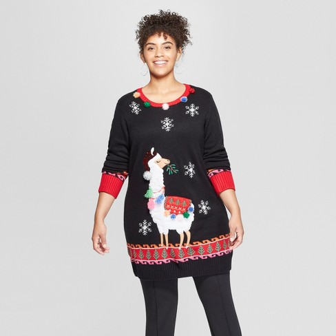 Womens Plus Size Llama Tunic Ugly Sweater 33 Degrees Juniors