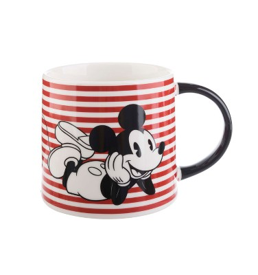 Mickey Mouse & Friends Mickey Mouse Porcelain Mug 26oz Stripes - Black/Red