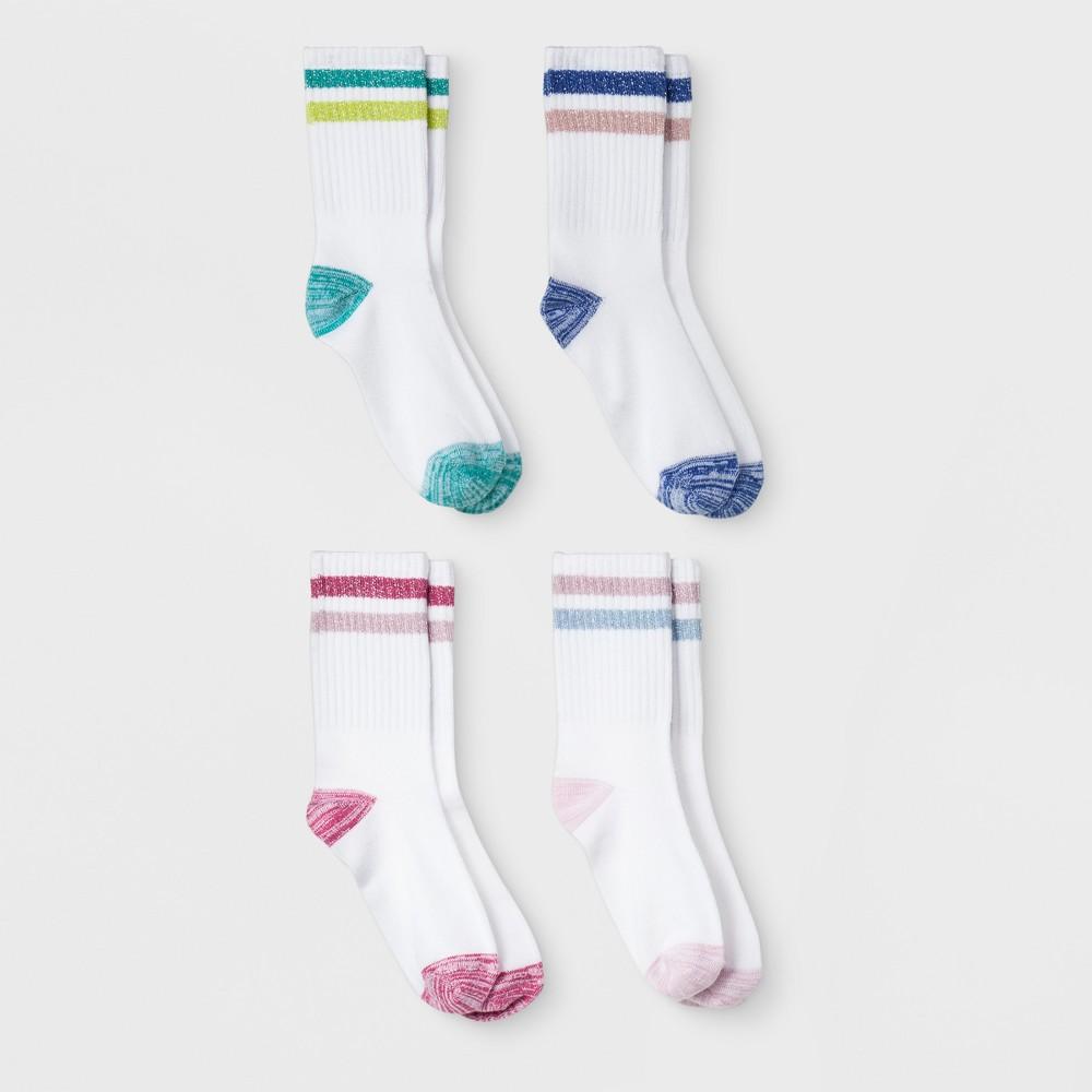Girls' Super Soft Crew Socks with Lurex Stripe - Cat & Jack S, Multicolored