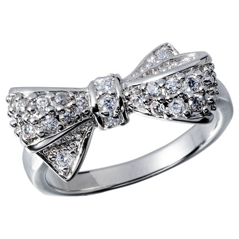 Cubic Zirconia Right Hand Ring with Bow - Silver - image 1 of 1