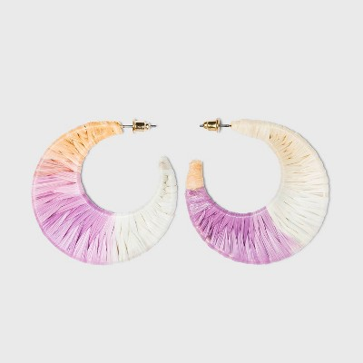 Ombre Raffia Woven Hoop Earrings - A New Day™