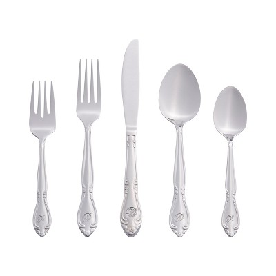 RiverRidge® 46 Pc Personalized Silverware Set - Rose Pattern