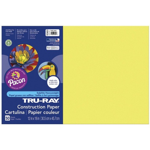 Tru-Ray Sulphite Construction Paper, 12 x 18 Inches, Lively Lemon, 50 Sheets - image 1 of 2