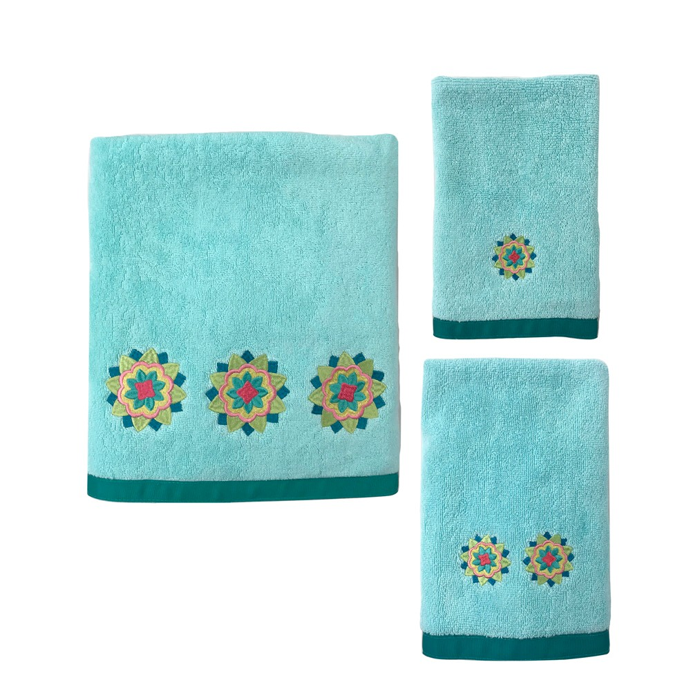 Image of 3pc Ariel Medallion Bath Towel Set Green - Allure Home Creation, Green Blue