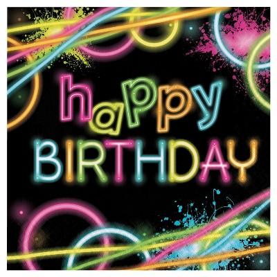 16ct Glow Party Birthday Napkins