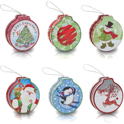 Set of 6 Christmas Empty Metal Cookie Nesting Tins Box Storage Containers for Cookie Candy Gift