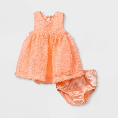 Baby Girls' Mesh Dress - Cat & Jack™ Orange 6-9M