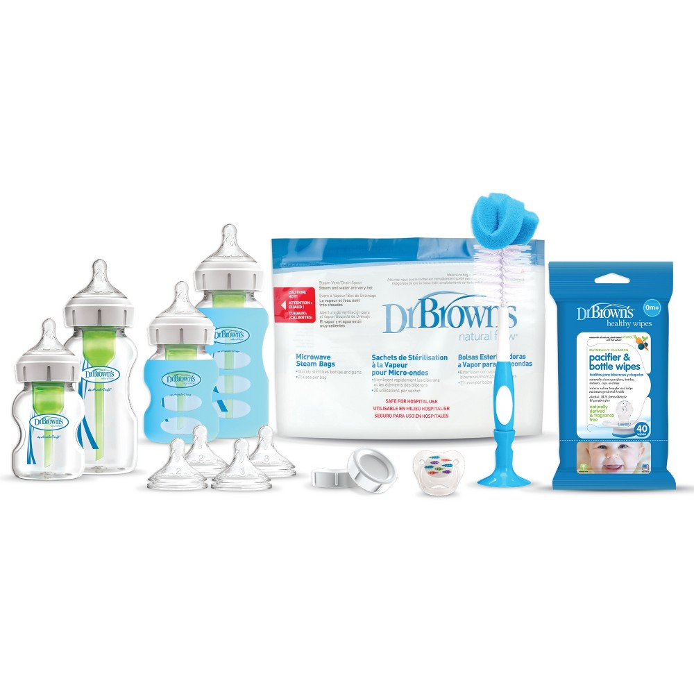 Image of Dr. Brown's Options+ Wide-Neck Glass Baby Bottle Gift Set, White