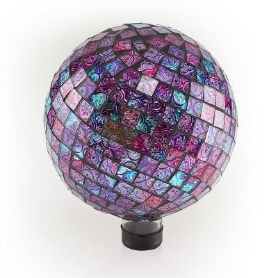 """12"""" x 10"""" Indoor/Outdoor Embossed Pattern Glass Gazing Globe Purple - Alpine Corporation"""
