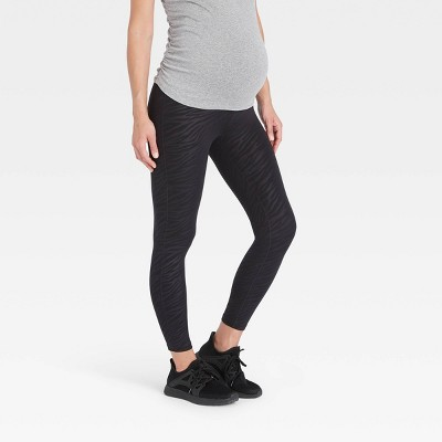 Crossover Panel Embossed Active Maternity Leggings - Isabel Maternity by Ingrid & Isabel™ Black