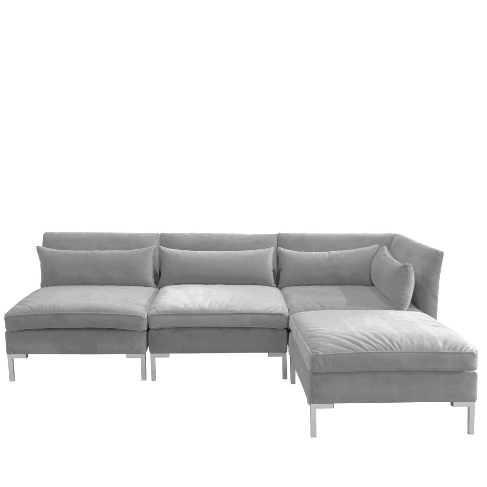 Image of 4pc Alexis Sectional with Silver Metal Y Legs Gray Velvet - Cloth & Company