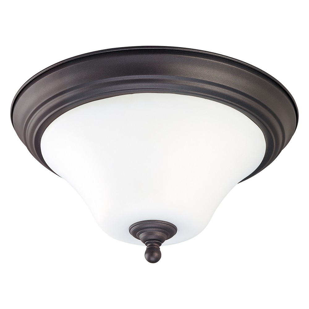 Image of Aurora Lighting 1 Light Dark Chocolate Flush Mount Ceiling Lights Bronze