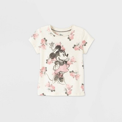 Toddler Girls' Disney Minnie Mouse Short Sleeve Graphic T-Shirt - Off-White - Disney Store