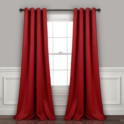 Insulated Grommet Blackout Curtain Panels Red Pair Set 95 x52  - Lush Decor
