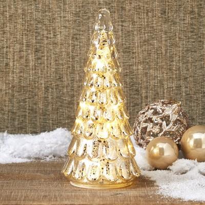 Lakeside Mercury Glass Tree - Lighted Christmas Mantel Decor or Centerpiece