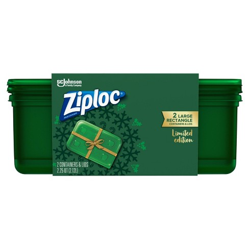 Ziploc Brand Holiday Large Green Rectangle Container - 2ct - image 1 of 4