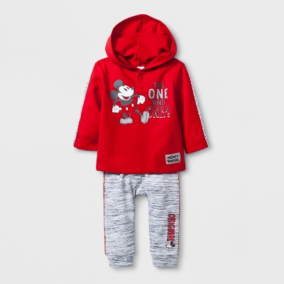 Baby Boys' Disney Mickey Mouse & Friends Mickey Mouse Hooded Sweatshirt and Jogger Set - Red Newborn