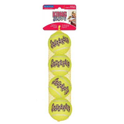KONG SqueakAir Tennis Ball Dog Toy - Yellow - M - 4ct