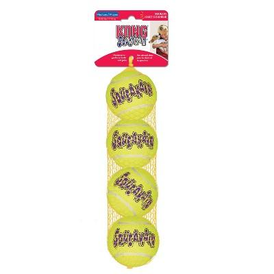 Kong SqueakAir Tennis Ball Dog Toy - Yellow - M - 4ct