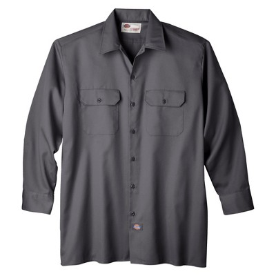 petiteDickies Men's Original Fit Short Sleeve Twill Work Shirt- Charcoal XXL, Grey