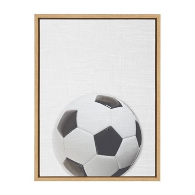 "18"" x 24"" Sylvie Color Soccer Ball PortraitFramed Canvas Natural - DesignOvation"