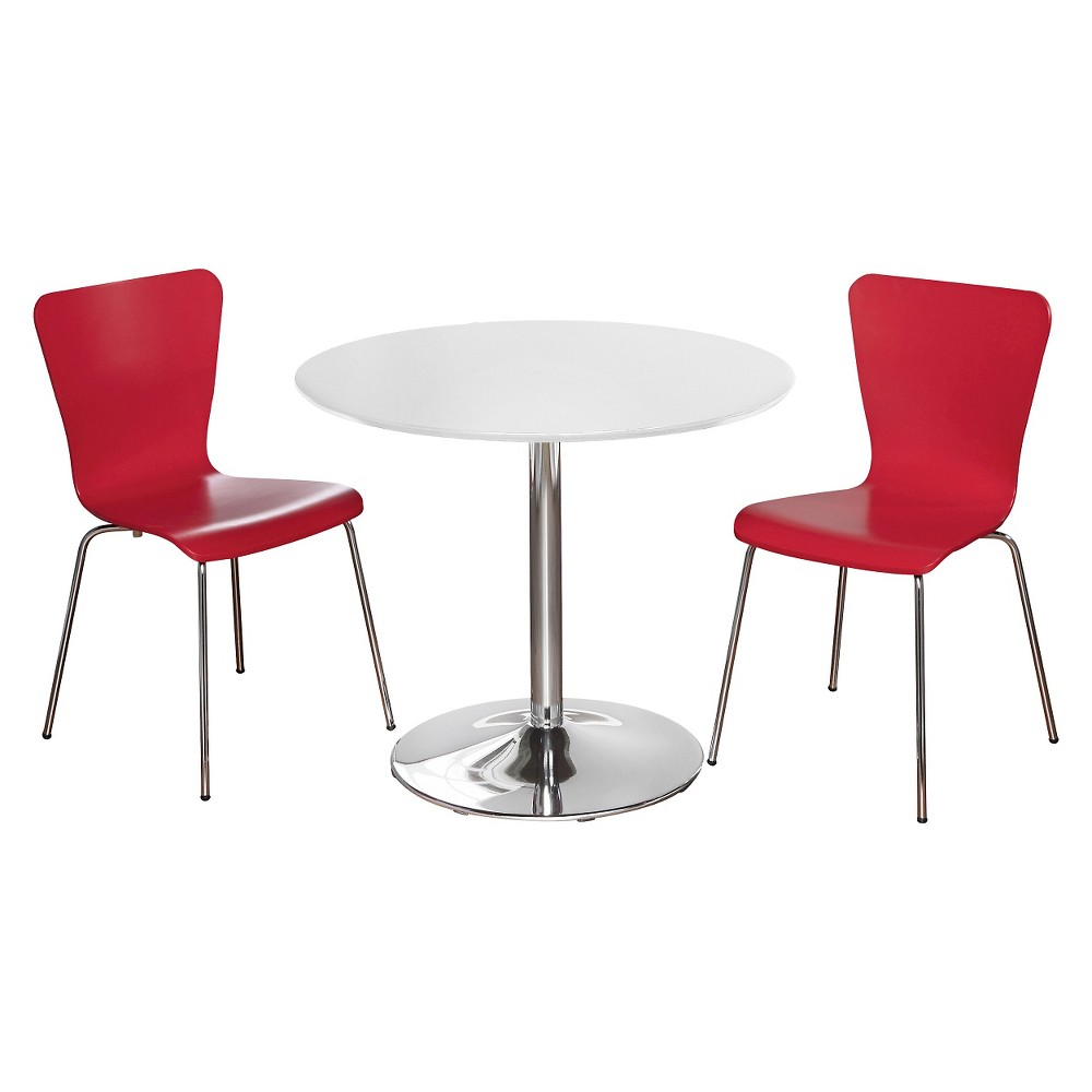 Hillsboro Dining Set White/Red 3 Piece - Tms
