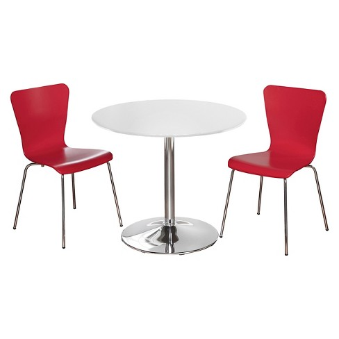 Hillsboro Dining Set White/Red 3 Piece - TMS - image 1 of 2