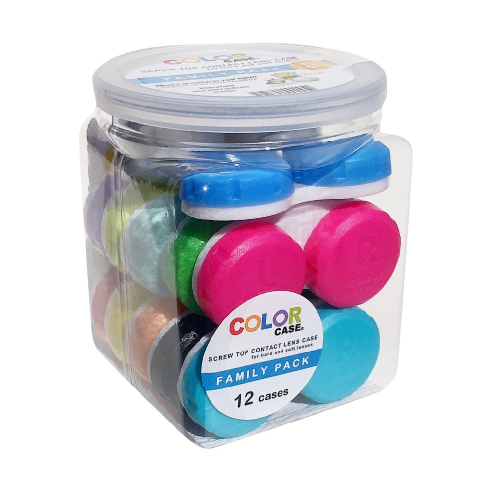 Color Case Screw Top Contact Lens Case - 12pk Color Case 12 Pack Tub of Contact Lens Cases makes it easy and affordable to follow eye care professional's orders to replace your case at least every month. This great value includes 12 screw top lens cases in a rainbow of colors. Lens cases are hotbeds for bacteria and fungi which are bad for eye health. Even if you properly follow cleaning and rinsing instructions, nasty bacteria will still find a way to grow. One of your best lines of defense is to replace your case at least monthly. Here's a good rule of thumb: replace your lens case when you replace your lenses, every 2 weeks or 30 days. Age Group: Adult.