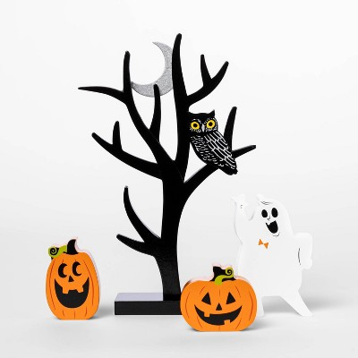 Mini Mantel Wood Tree with Pumpkin and Ghosts Halloween Decorative Prop - Hyde & EEK! Boutique™