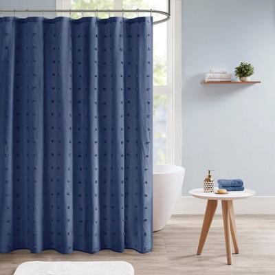 Kay Cotton Pom-Pom Shower Curtain Indigo