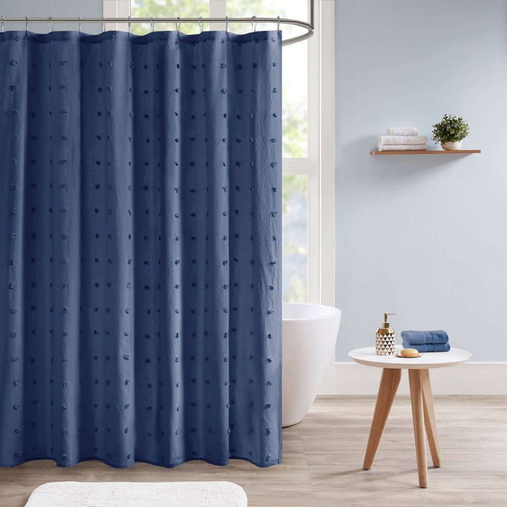 Kay Cotton Pom Pom Shower Curtain Indigo