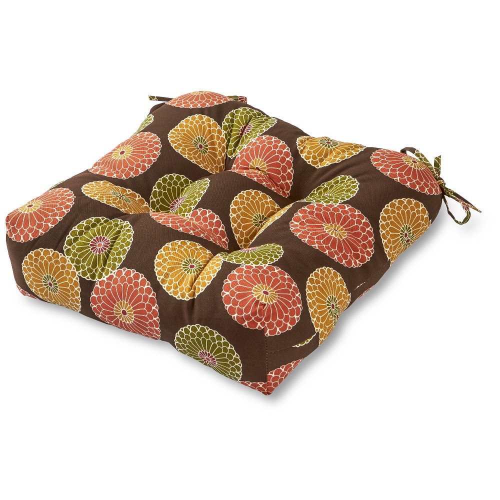 Image of Flowers on Chocolate Outdoor Seat Cushion - Greendale Home Fashions, Brown