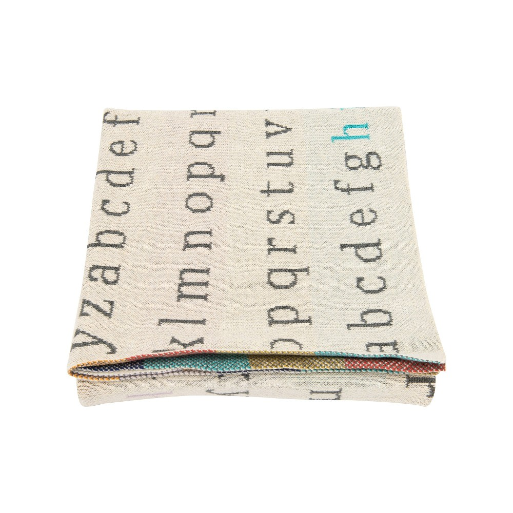 "Image of ""40"""" x 32"""" Alphabet Cotton Throw Blanket Gray - 3R Studios"""