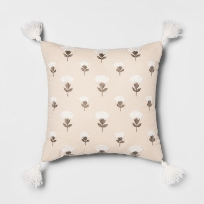 Embroidered Floral Square Throw Pillow Cream/Gray - Opalhouse™