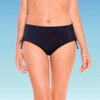 Women's Slimming Control Side-Tie Ruched Bikini Bottom - Beach Betty by Miracle Brands Black