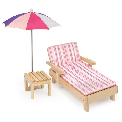Badger Basket Doll Beach Lounger With Table And Umbrella   Summer Stripes