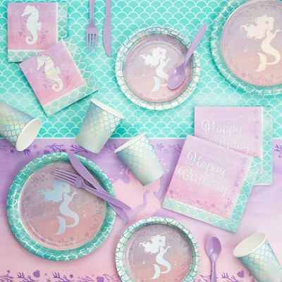 Mermaid Print Iridescent Birthday Party Supply Kit