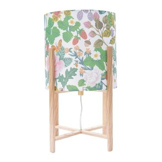 Wood Table Lamp with Floral Fabric Shade - 3R Studios