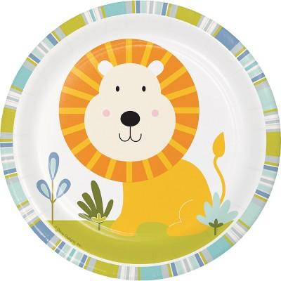 24ct Happy Jungle Dessert Plates, Lion Green