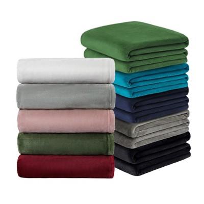 1 Pc Queen Microfiber Plush Flannel Bed Blankets Burgundy  - PiccoCasa
