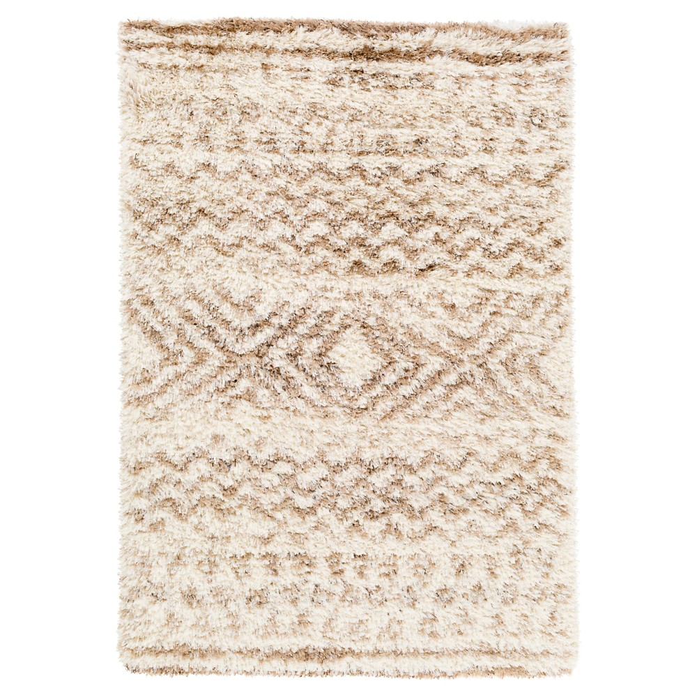 Tufted Area Rug Cream/Brown (Ivory/Brown) 5'X8' - Surya
