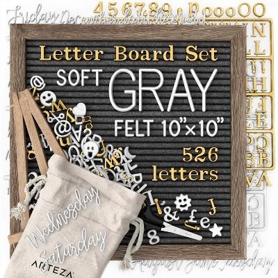 "Arteza Letter Board Set, Soft Gray Felt, 10"" x 10"""