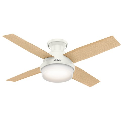44 Dempsey Low Profile With Light Fresh White Ceiling Fan Handheld Remote Hunter Target