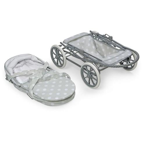 Badger Basket Just Like Mommy 3-in-1 Doll Pram/Carrier/Stroller - Gray/Polka Dots - image 1 of 4