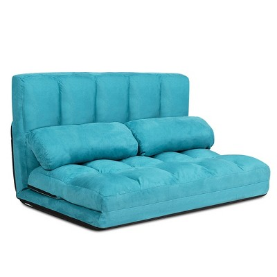 Costway Foldable Floor Sofa Bed 6-Position Adjustable Lounge Couch with 2 Pillows Blue\Beige\Grey