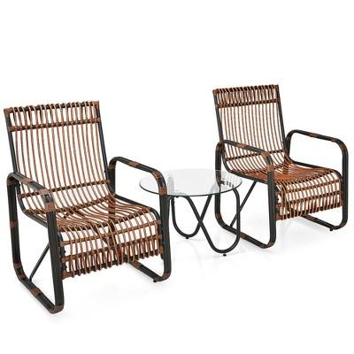 Costway 3PCS Patio Rattan Furniture Set Conversational Sofa Coffee Table Garden