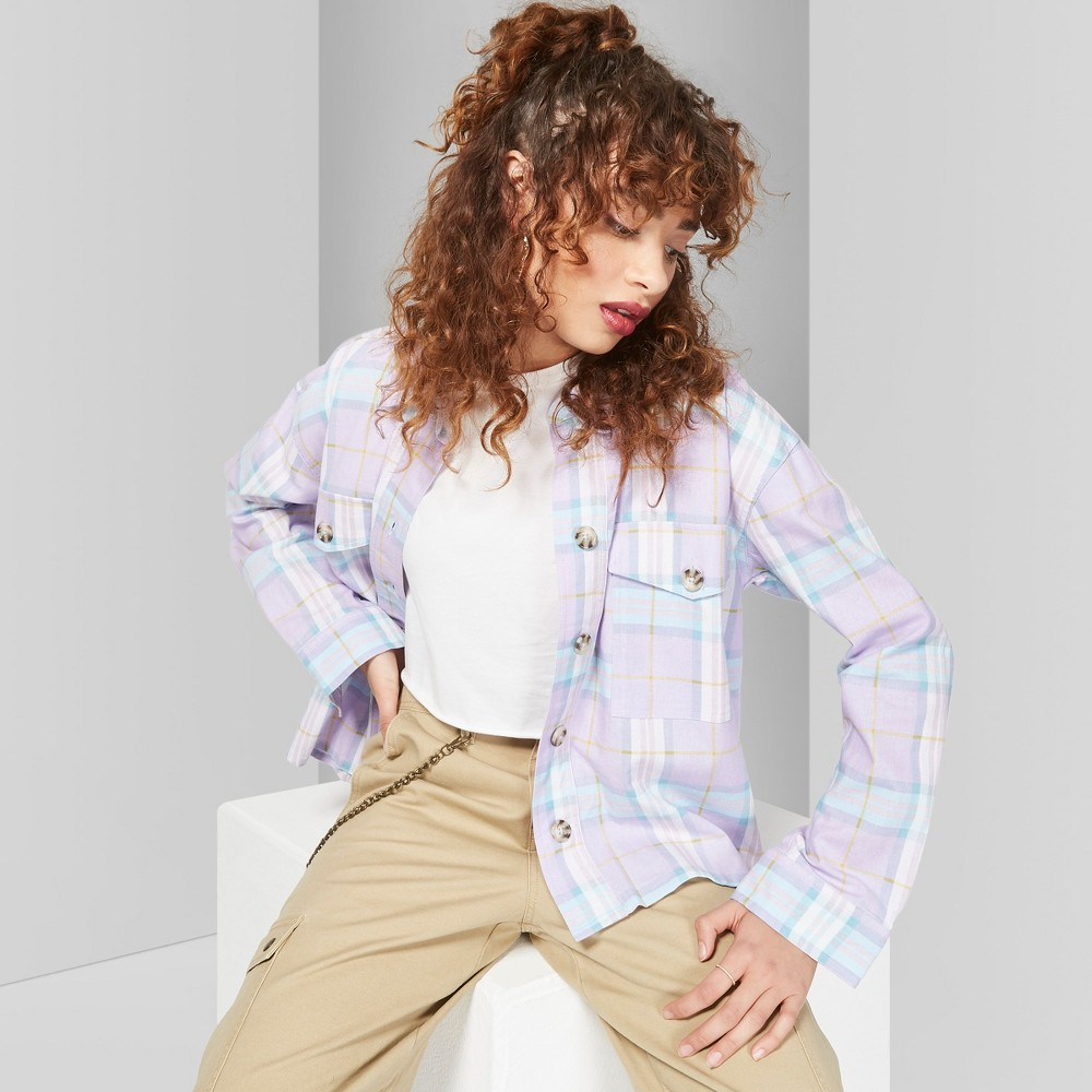 Women's Plaid Long Sleeve Button-Down Shirt - Wild Fable Stormy Gray L, Purple