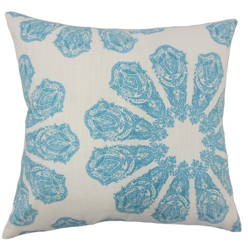 """Blue  Floral Square Throw Pillow (18""""x18"""") - The Pillow Collection - image 1 of 1"""