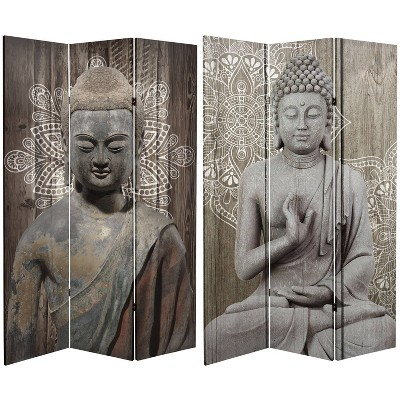 """6"""" Double Sided Stone Buddha Canvas Room Divider Gray - Oriental Furniture"""